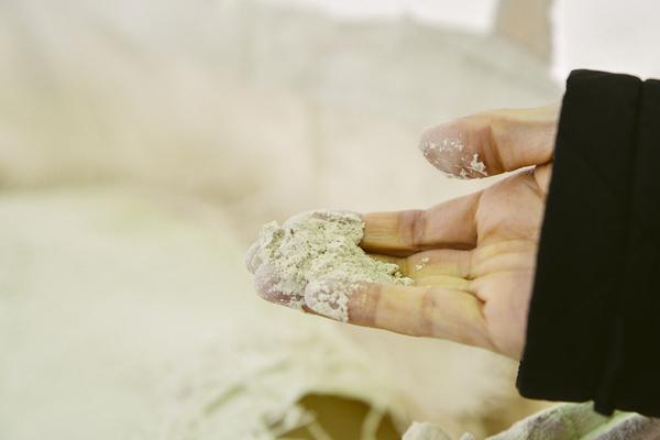 粉砕され粉状になったホタテの貝殻。焼くことで塩分が抜け、土に溶けやすい「水酸化カルシウム」に変化する