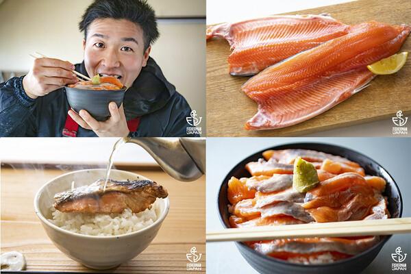鮭の切り身、鮭茶漬け、銀鮭の丼、どんぶり飯を頬張る漁師。