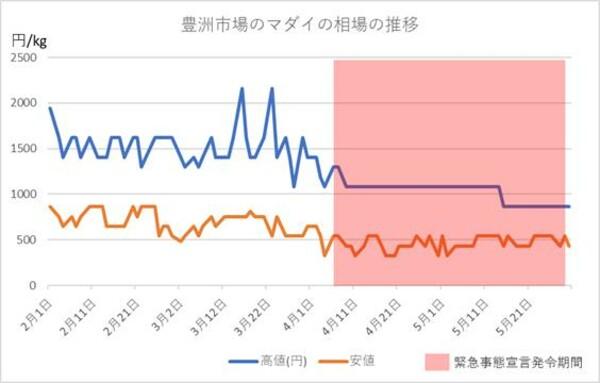 豊洲市場のマダイの相場の推移(2020年2月から5月)