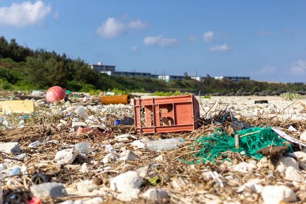 台風後は波が荒れるため漂着ゴミも多い。内喜名浜とは別の浜にて